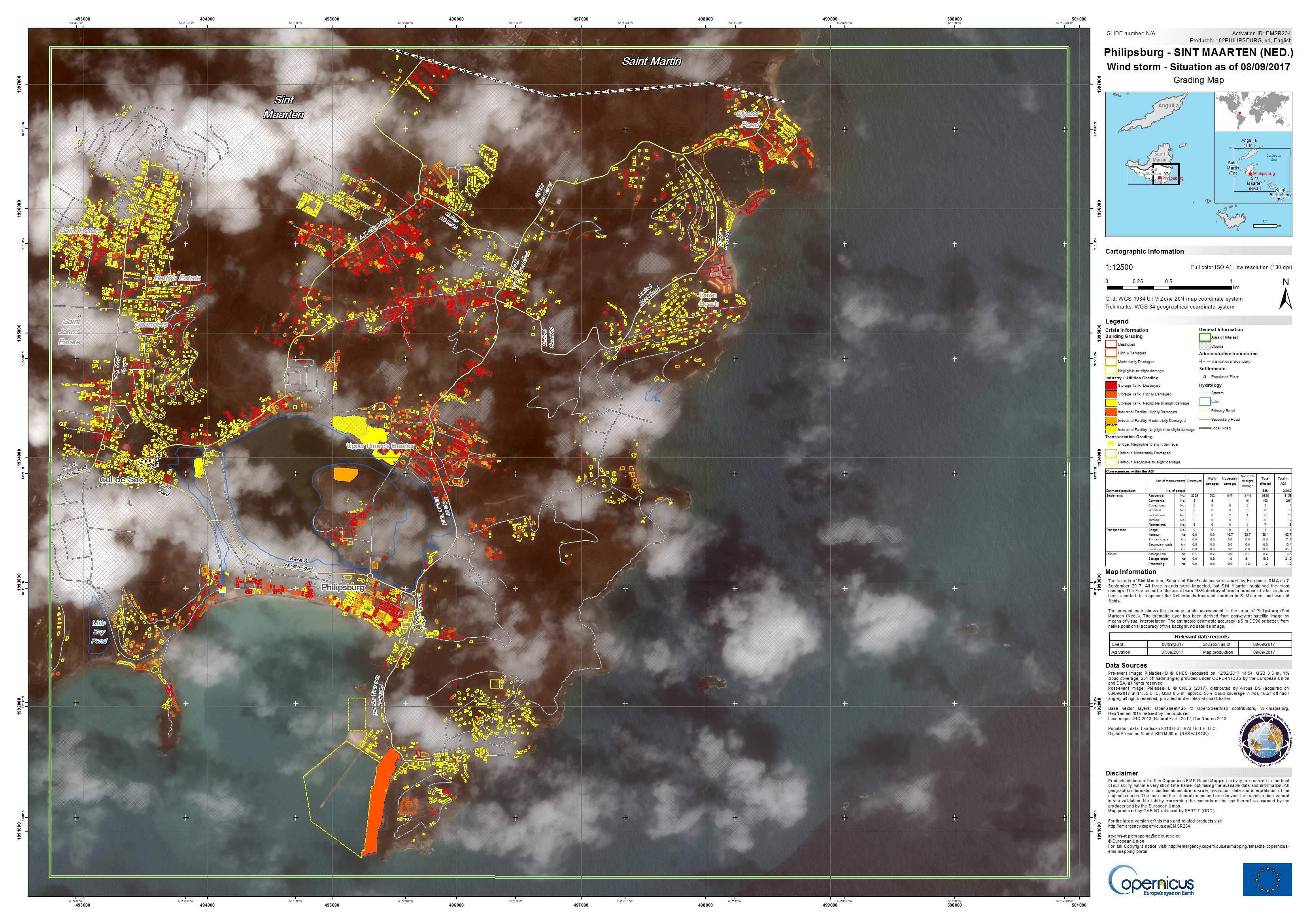 [EMSR234] Philipsburg, Sint Maarten (Ned.): Grading Map