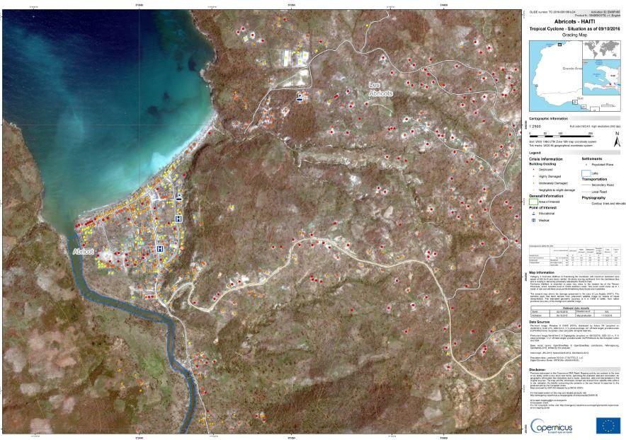 Bild: Beispiel einer erstellten Schadenskarte von Haiti (Abricots) © European Commission, Copernicus Emergency Management Service